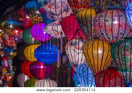 Hoi An , Vietnam - Oct 04 : Paper Lanterns Lighted Up On The Streets Of Hoi An ,vietnam During The H