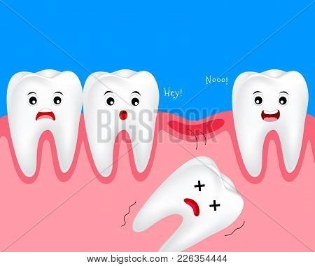 Cute Cartoon Tooth Character. Lost  Baby Teeth Concept. Dental Care Illustration.