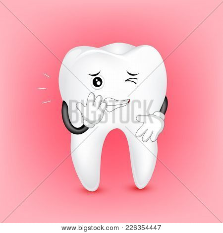 Cute Cartoon Tooth Character With Problem Of Teeth. Dental Care Concept.  Illustration On Red  Backg