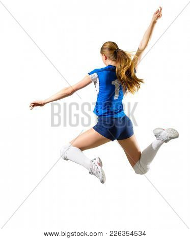 Young woman volleyball player isolated (without ball and net version)