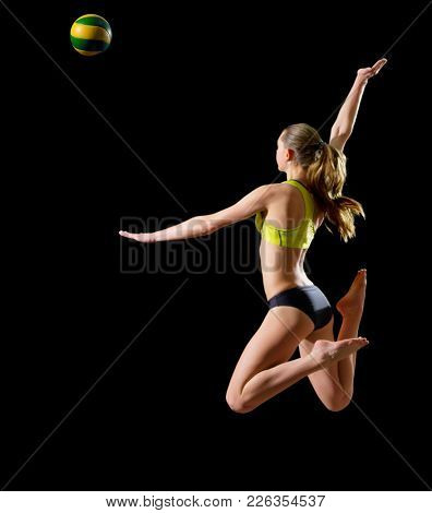 Young woman beach volleyball player isolated (version with ball)