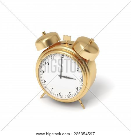 3d Rendering Of A Golden Retro Alarm Clock With Bells Isolated On A White Background. Business Sched