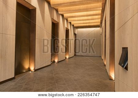 Office Building Elevator Hall With Warm Lighting