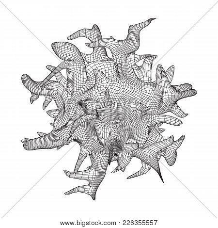 Bacteria Virus Wireframe Mesh Model, Vector Illustration Microbe. Bacteria Virus Or Germs Microorgan
