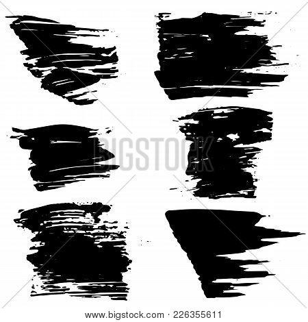 Grunge Ink Brush Strokes Set. Freehand Black Brushes. Handdrawn Dry Brush Black Smears. Modern Vecto