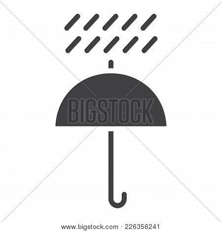 Umbrella Symbol Glyph Icon, Logistic And Delivery, Keep Away From Water Sign Vector Graphics, A Soli