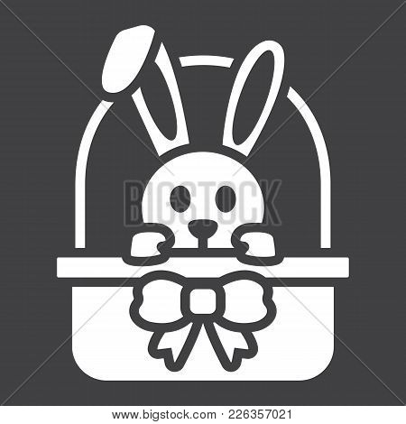 Easter Bunny In Basket Glyph Icon, Easter And Holiday, Rabbit Sign Vector Graphics, A Solid Pattern