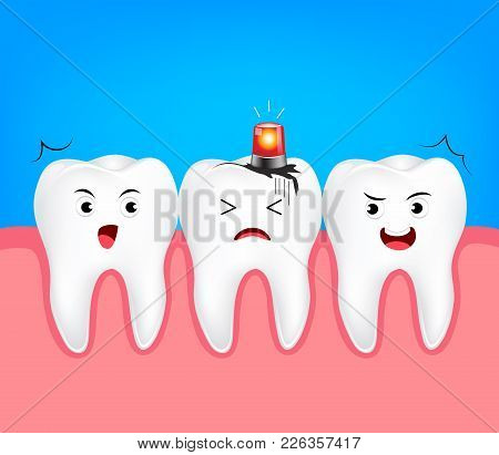 Decayed Tooth With Siren. Dental Care Concept,  Illustration Isolated On Blue Background.