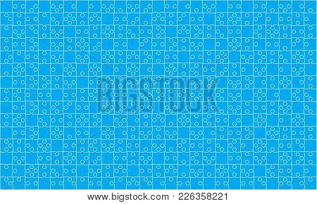 375 Blue Material Design Puzzles Pieces - Vector Illustration. Jigsaw Puzzle Blank Template Or Cutti