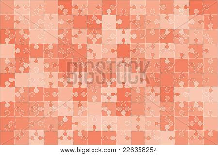 Red 150 Puzzles Pieces Arranged In A Rectangle - Vector Illustration. Jigsaw Puzzle Blank Template.