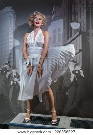 AMSTERDAM, NETHERLANDS - APRIL 25, 2017: Marilyn Monroe wax statue in Madame Tussauds museum on April 25, 2017 in Amsterdam Netherlands.