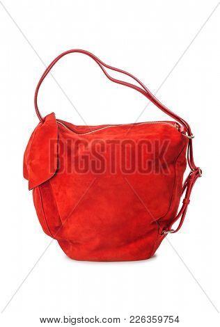 Red handbag isolated on white background