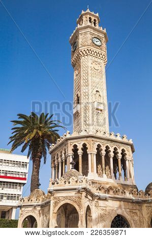 Clock Tower On Konak Square, It Was Built In 1901 And Accepted As The Official Symbol Of Izmir City,