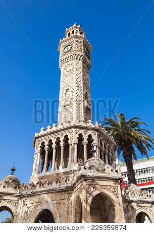 Clock Tower On Konak Square. It Was Built In 1901 And Accepted As The Official Symbol Of City Izmir,