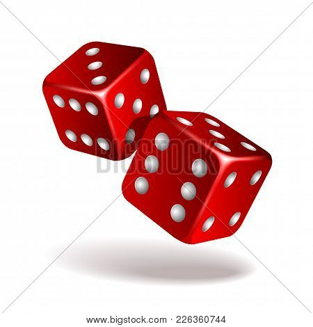 Two Red Falling Dice Isolated On White. Casino Gambling Template Concept. Vector Illustration