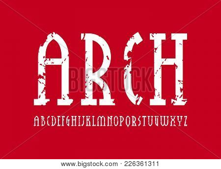 Narrow Slab Serif Font In New Gothic Style. Letters With Rust Texture For Logo And Title Design. Whi
