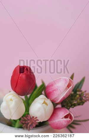 Bunch Of Tulips Flowers With Copy Paste. Vertical Image. Copy Paste For Text.