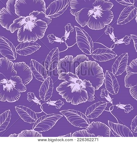 Seamless Pattern With Flowers Violets On A Purple  Background