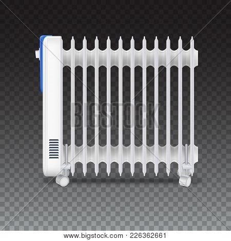Oil Radiator Isolated On Transparent Background. White, Electric Oil Filled Heater On Wheels. Vector