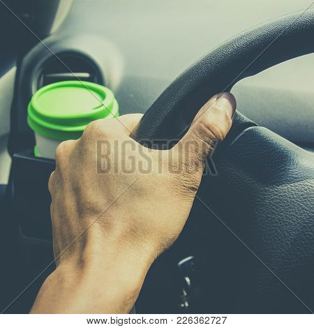 Cup Coffee Put On Front Console Of A Car While Driving Car