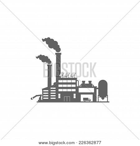 Factory And Industrial Buildings, Car In Stock. Flat Style. Vector Illustration