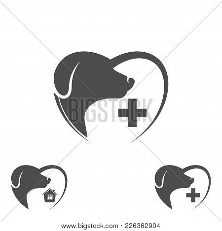 Logo Dog In The Heart. Dog Logo Abstract Design Template. Dog Silhouette. Vector Illustration