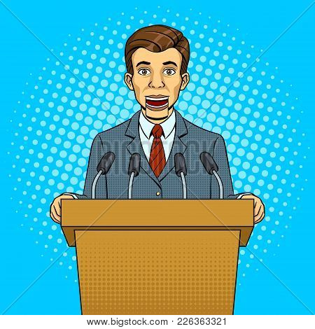Speaking Puppet Tribune With Microphones Pop Art Style Vector Illustration. Conceptual Political Lie