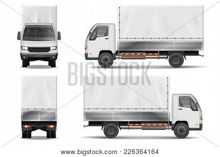 Semi Truck Isolated On White. Commercial Realistic Cargo Lorry Mockup. Delivery Truck Vector Templat