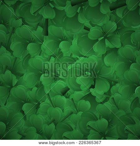 Background From Leaf Clover With A Darkening At The Edges Of The Solid Fill