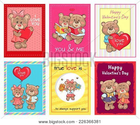 Happy Valentines Day Set Of Posters, True Love Is An Always Support, Teddy Girl In Cheerleading Unif