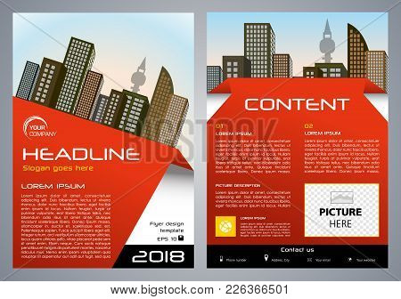 Vector Flyer, Corporate Business, Annual Report, Brochure Design And Cover Presentation With Red Ele