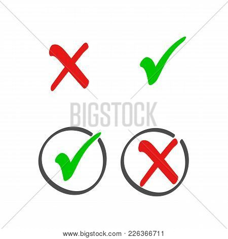 Check Box List Icons Set, Color Red And Green Marks Isolated On White Background. Vector Illustratio