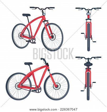 Bike With Pedals And Rudder Front And Side View, Bicycle Lumens Headlamp Vector Illustration Isolate