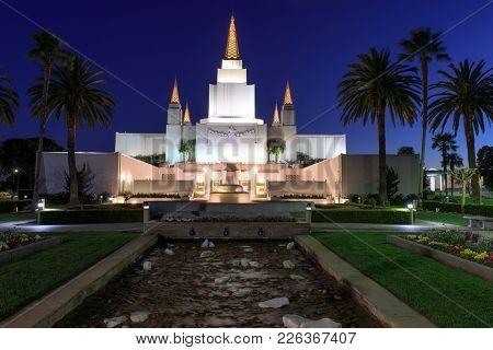 Oakland, California - February 11, 2018: Exterior Of Oakland California Temple - The Church Of Jesus