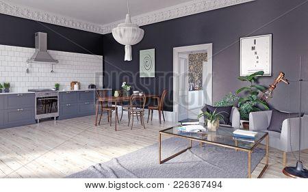 modern kitchen interior. 3d rendering concept