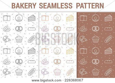 3 Seamless Patterns For Bakery With Line Icons, Vector Eps10 Illustration