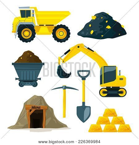 Illustrations Of Mining Industry At Different Minerals, Gold And Diamonds. Gold Industry Underground