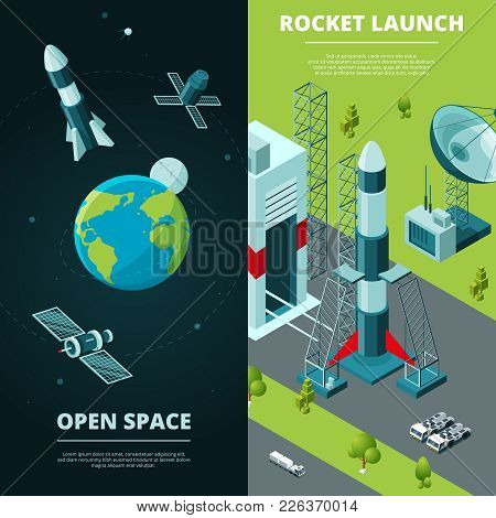 Vertical Banners With Pictures Of Space Travel And Launch Pad In Spaceport. Travel Rocket And Spaces