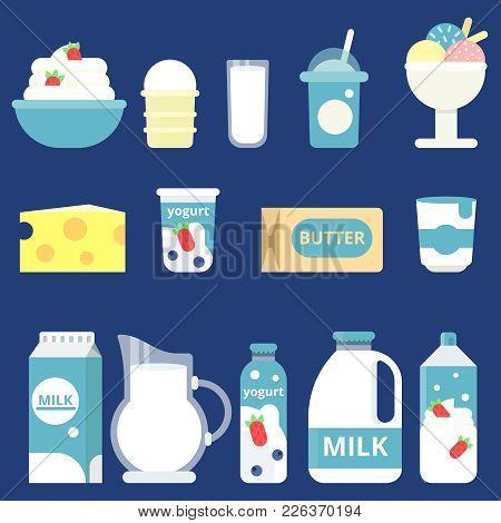 Illustrations Of Milk Products. Cream, Yogurt And Cheese. Bottle Milk And Yogurt, Cheese Food And Da