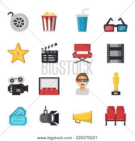 Icon Set Of Tv Show And Cinema Symbols. Vector Pictures Of Tickets, Popcorn, Camera And Others Illus