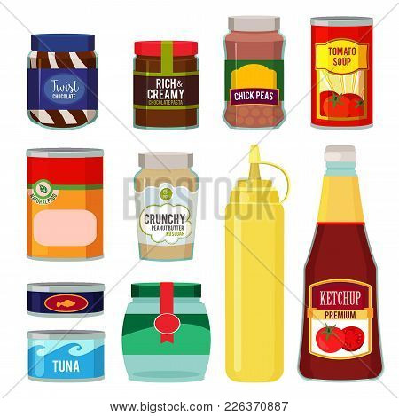 Illustrations Of Canned Goods. Conservation Of Tomato, Fish, Vegetables And Other Foods. Vector Food