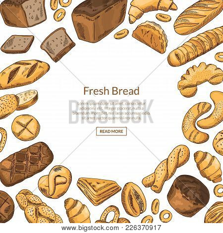 Vector Hand Drawn Colored Bakery Elements Illustration With Round Empty Space For Text. Vector Baker