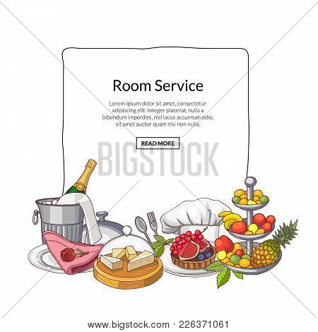 Vector Hand Drawn Restaurant Or Room Service Elements Gathered Under Frame With Place For Text. Food