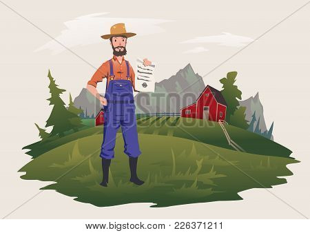 The Farmer Stands On The Farm And Holds A Paper Document. Paper On Private Ownership Or Insurance. V