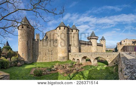 Chateau Comtal - 12th-century Hilltop Castle In Carcassonne, Aude, France