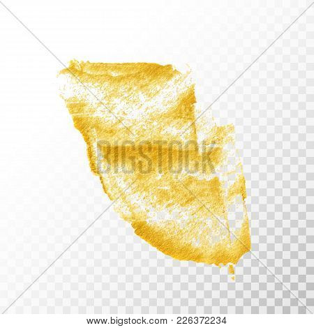 Gold Hand Drawn Paint Brush Stroke Isolated On Transparent Background. Abstract Vector Golden Acryli
