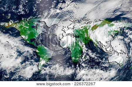 Hurricane Over The Green World Map Silhouette, Elements Of This Image Furnished By Nasa. Concept Of