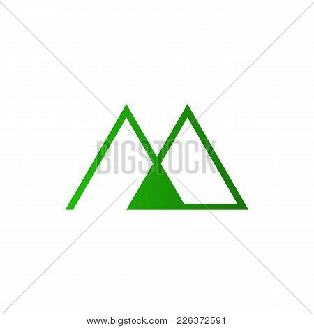 Abstract Initial M Letter Mountain Outline Symbol Vector Illustration Graphic Design