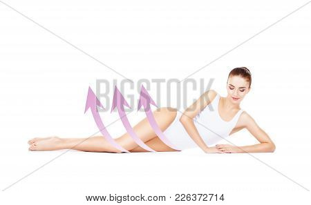 Fit And Sporty Young Girl With Arrows Isolated On White Background. Health, Sport, Fitness, Nutritio