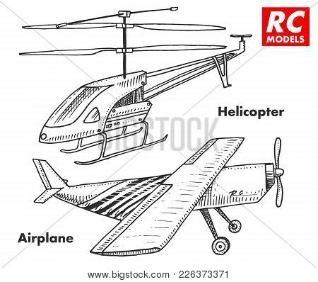 Rc Transport, Remote Control Models. Toys Design Elements For Emblems, Icon. Helicopter And Aircraft